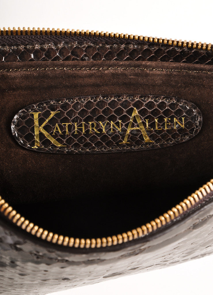 Kathryn Allen Dark Brown Snakeskin Leather Oversized Tote Bag With Pochette Pochette Brand