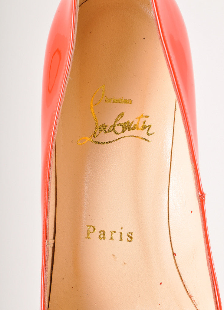 "Christian Louboutin Red Patent Leather Platform ""Bianca 120"" Pumps Brand View"