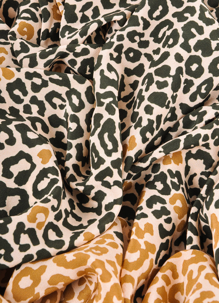 Black, Tan, and Pink Max Mara Leopard Print Silk Scarf