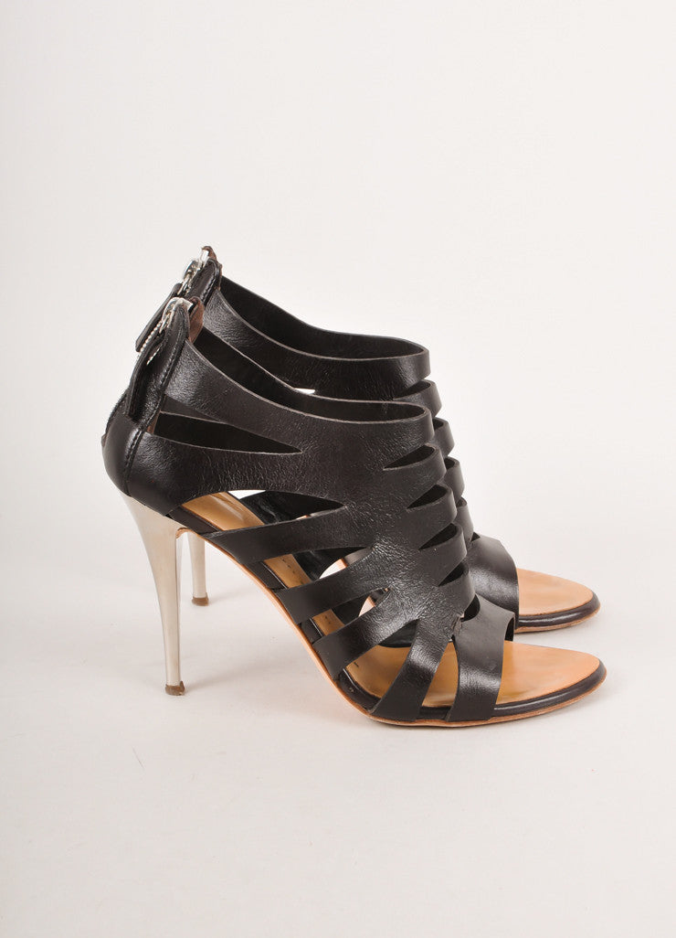 Black Leather Gladiator Sandals With Silver Heels