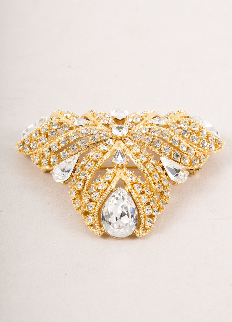 Gold Toned and Clear Rhinestone and Gem Encrusted Pin Brooch