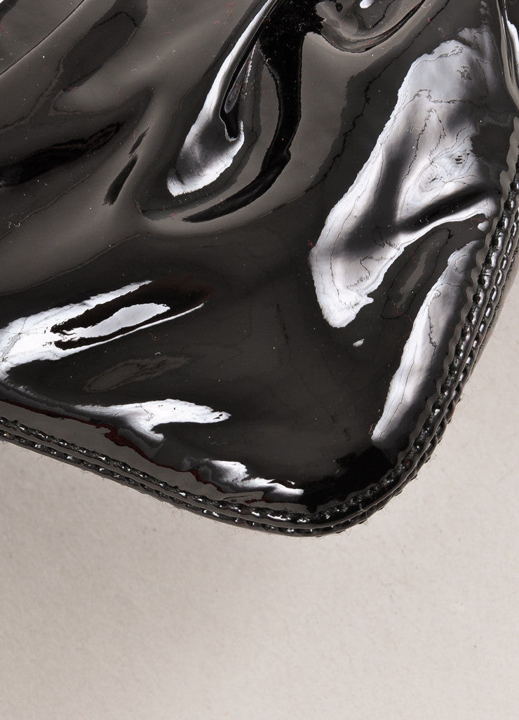 Black Patent Leather Ruched Turnlock Clasp Clutch Bag