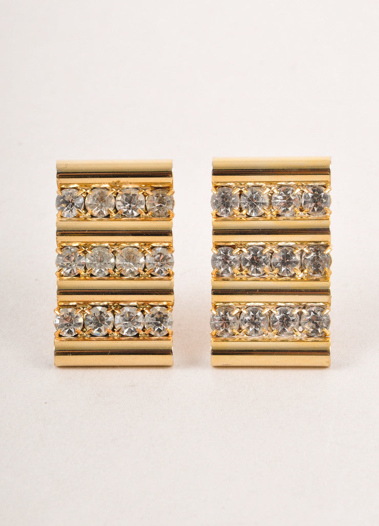 Gold Toned and Clear Cylinder Rhinestone Trim Clip On Earrings