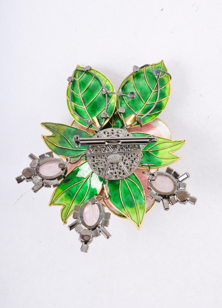 Green and Pink Embellished Floral Brooch