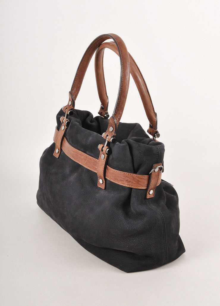 Black and Brown Suede Handbag With Shoulder Strap