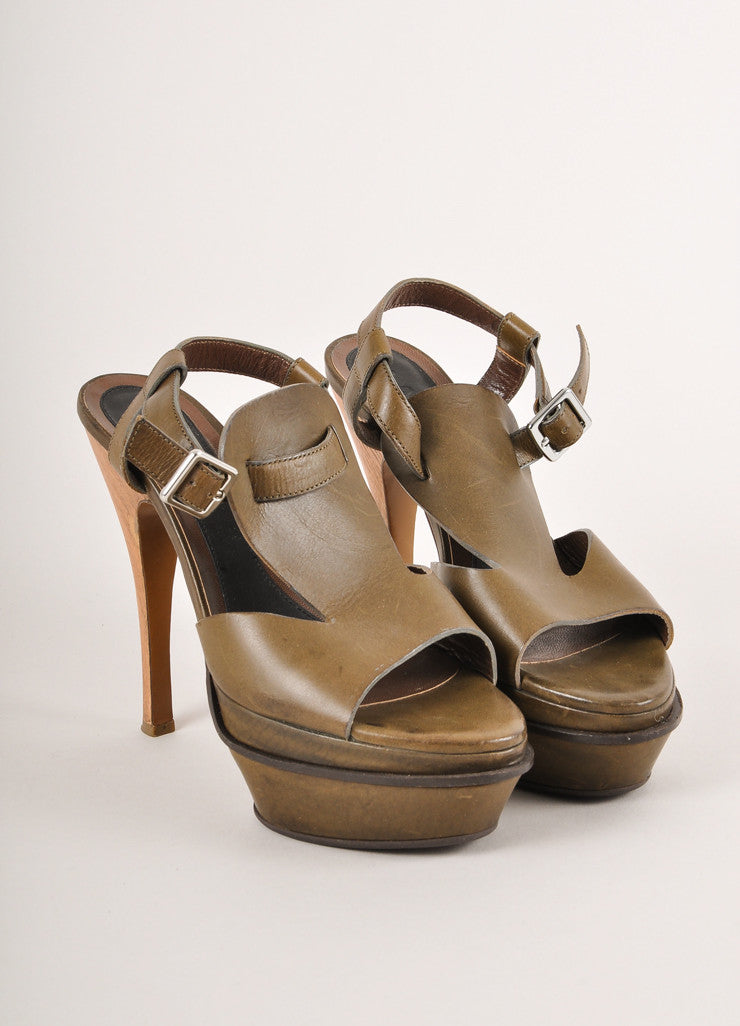 Marni Olive Green Leather Wood Heel Platform Strappy Sandals Frontview