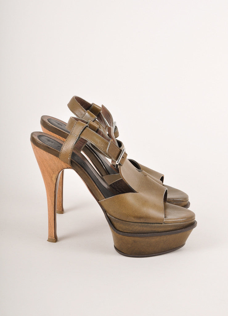 Marni Olive Green Leather Wood Heel Platform Strappy Sandals Sideview