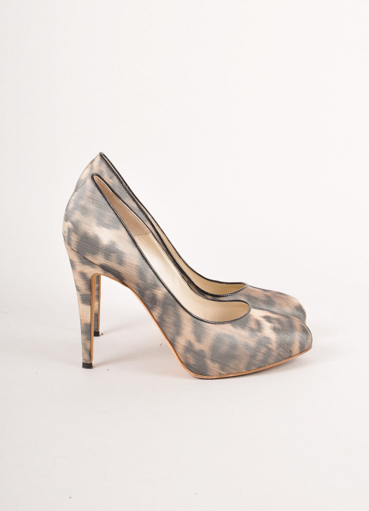 Tan and Black Brian Atwood Leopard Pattern Hidden Platform Stiletto Heels