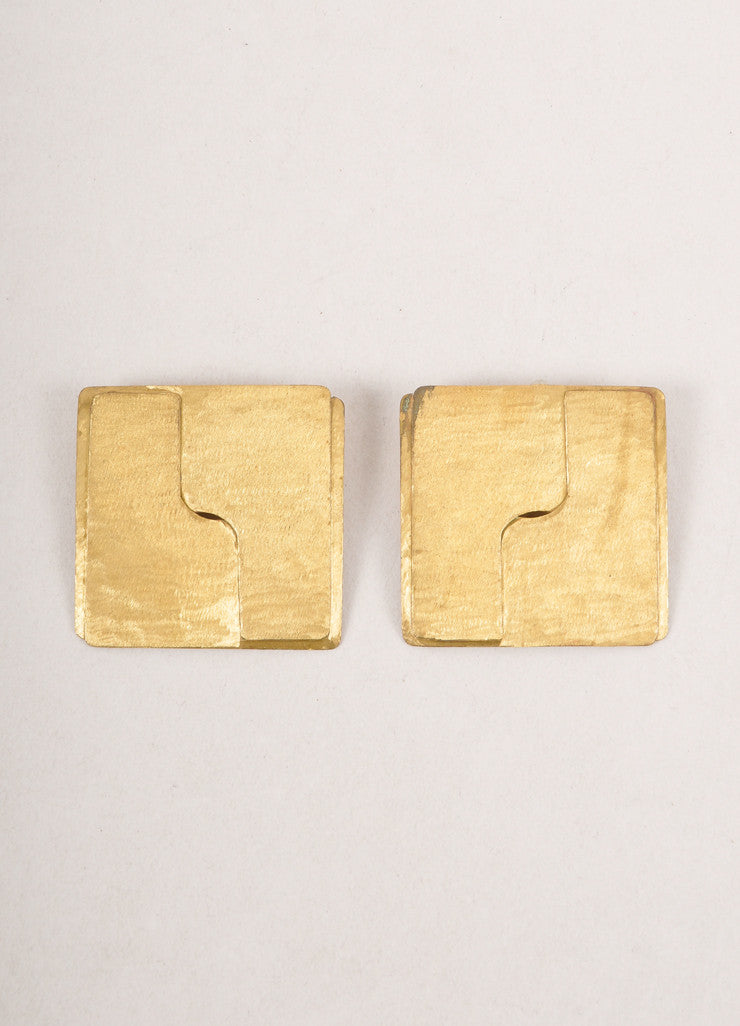 Vintage Gold Toned Textured Square  Earrings