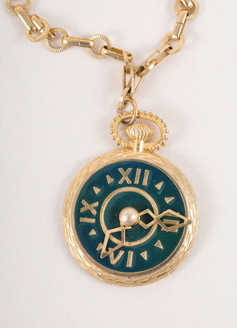 Gold Toned and Green Enamel Pocket Watch Pendant Necklace