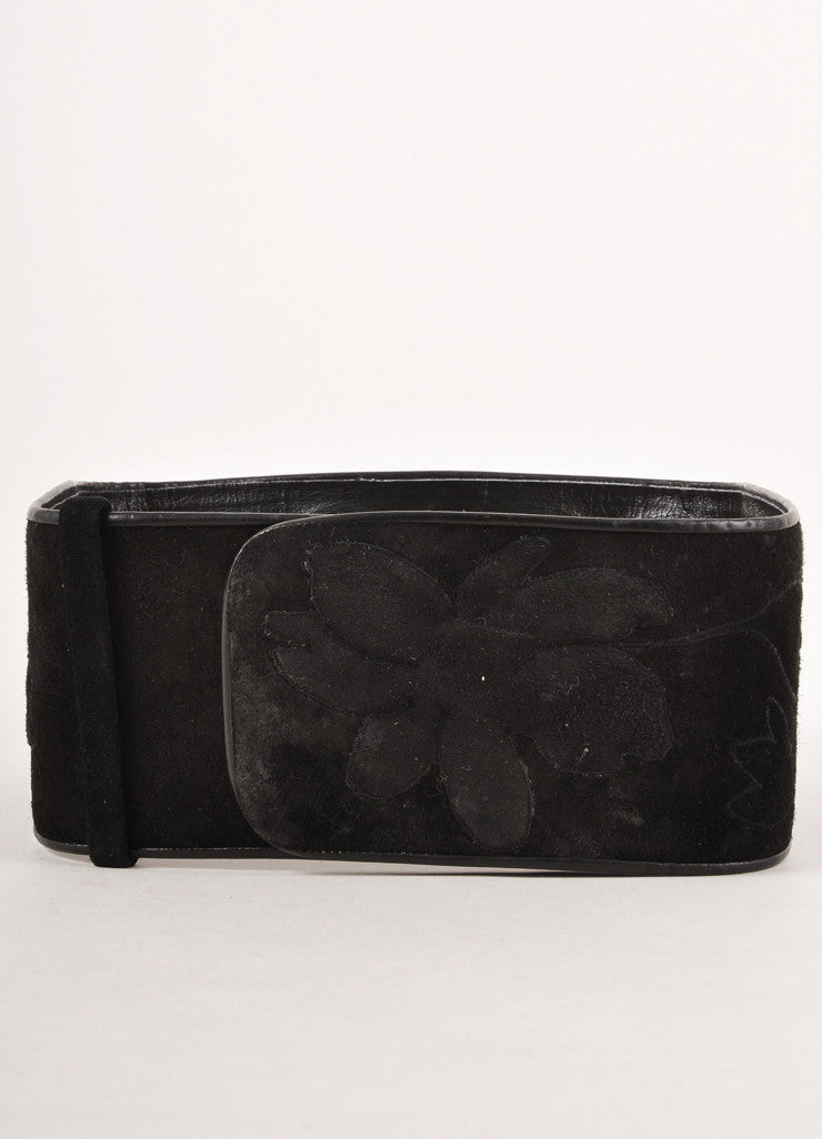 Black Suede Wide Belt With Floral Designs