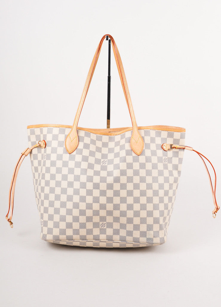 Damier Azure Neverfull Leather Tote Bag