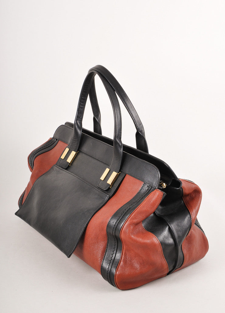 "Brown and Black Two Tone Leather ""Alice"" Tote Bag"