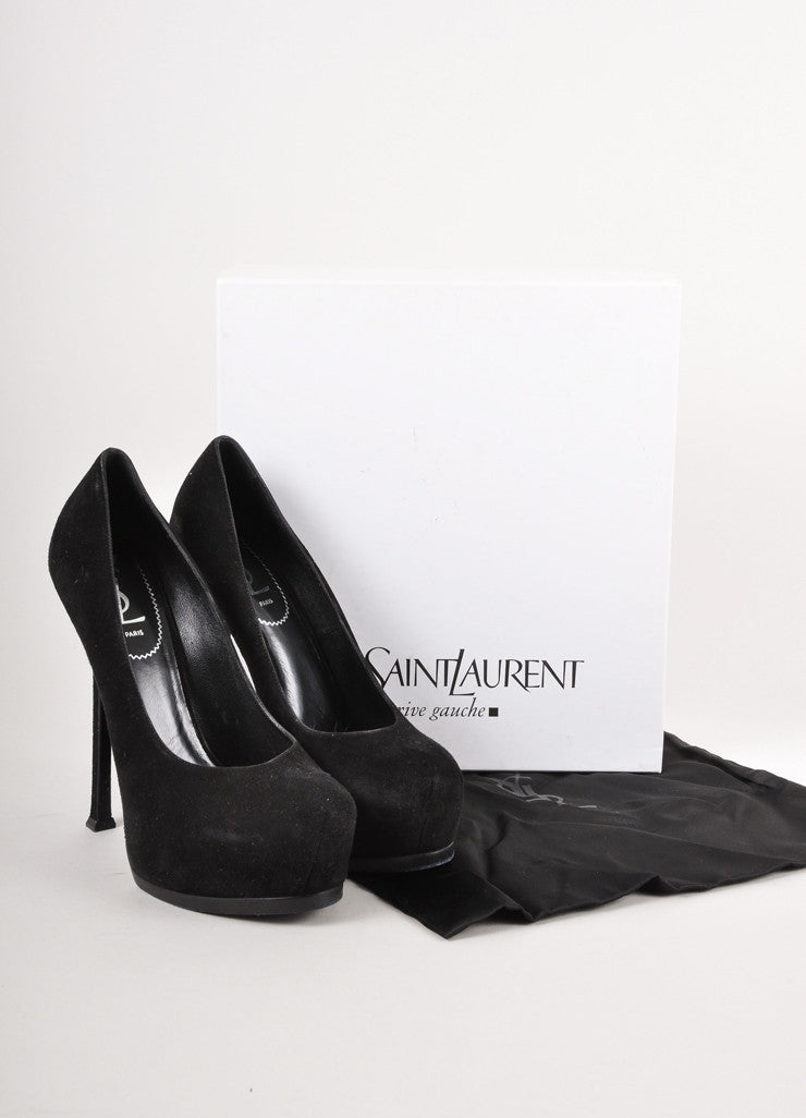 Black Suede Platform Stiletto Pumps