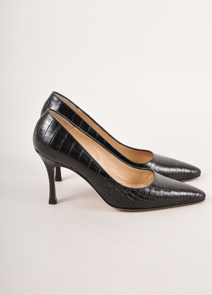 Black Reptile Leather Pointed Toe Pumps