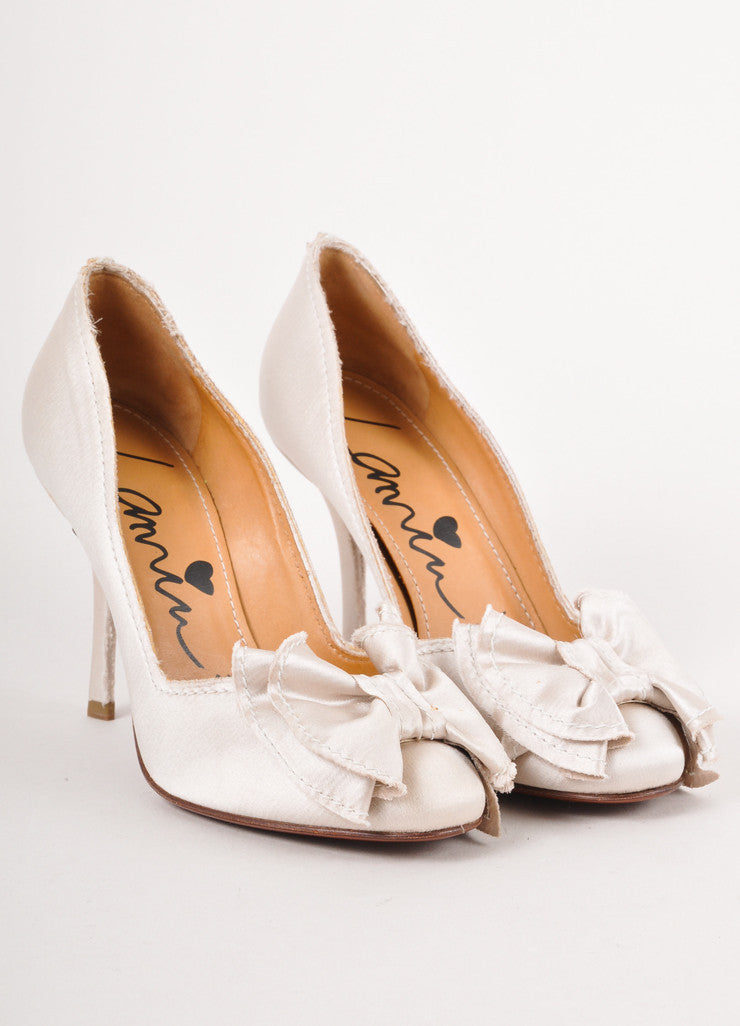 "New In Box Beige Distressed ""Satin Toe Pumps"""