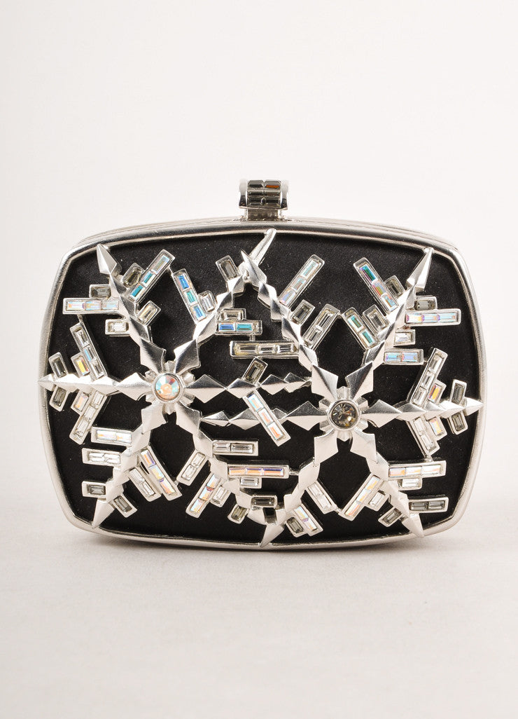New With Tags Black and Silver Crystal Embellished Snowflake Satin Clutch