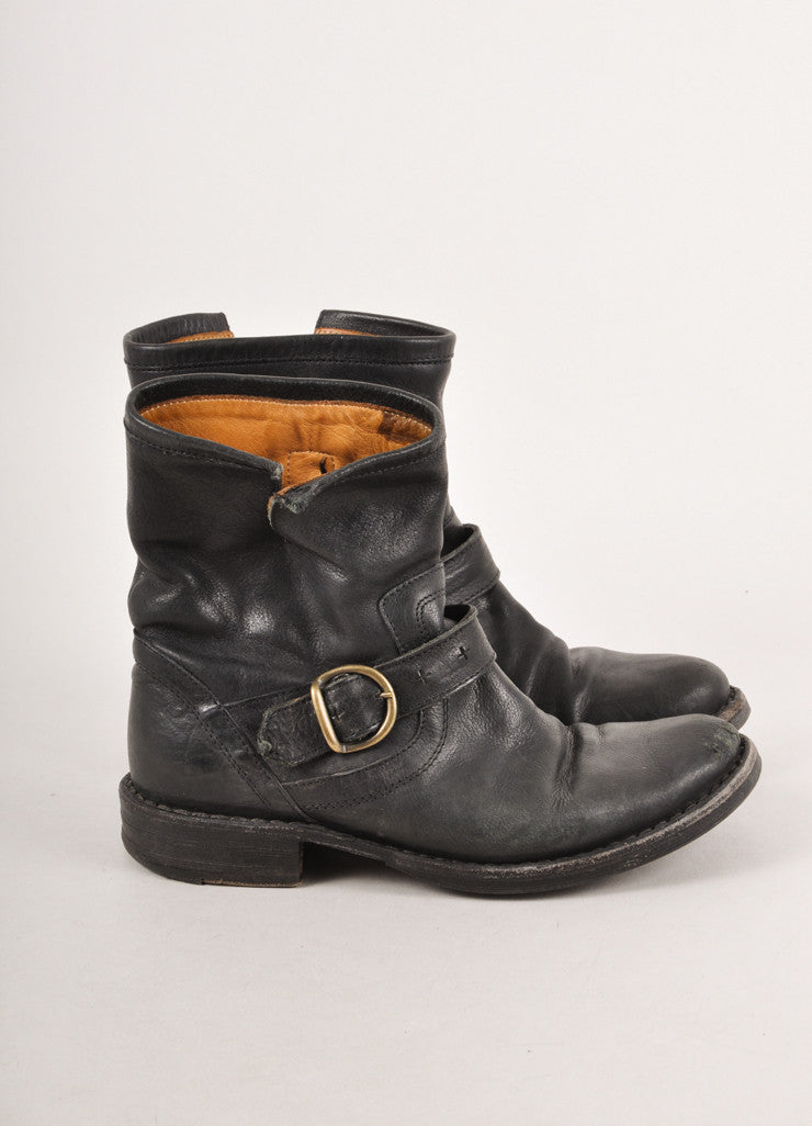 "Black Buckle and Zip Leather ""Eli"" Moto Boots"