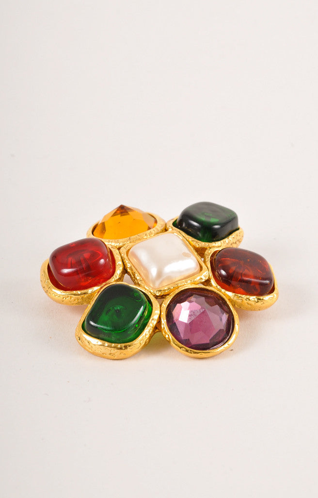 Chanel Multicolor Glass Cabochon Floral Pin Brooch Sideview