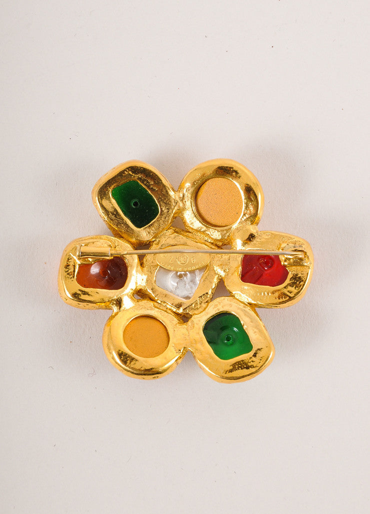 Chanel Multicolor Glass Cabochon Floral Pin Brooch Backview