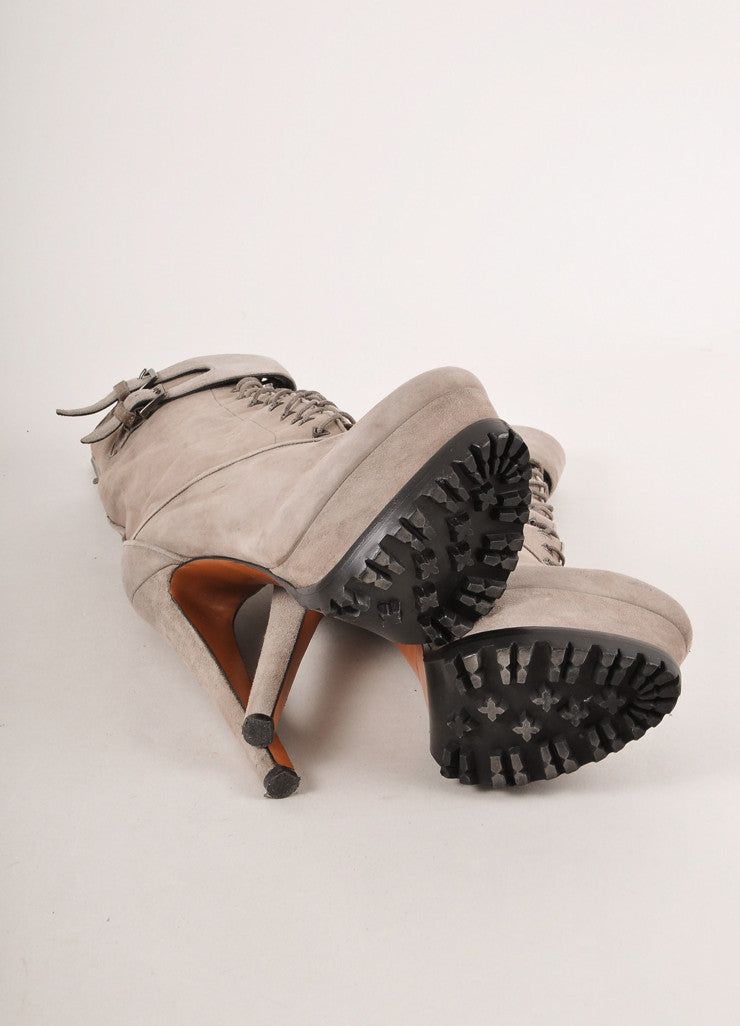 Grey Suede Leather Lace Up Lug Sole Sky Hight Platform Heeled Boots