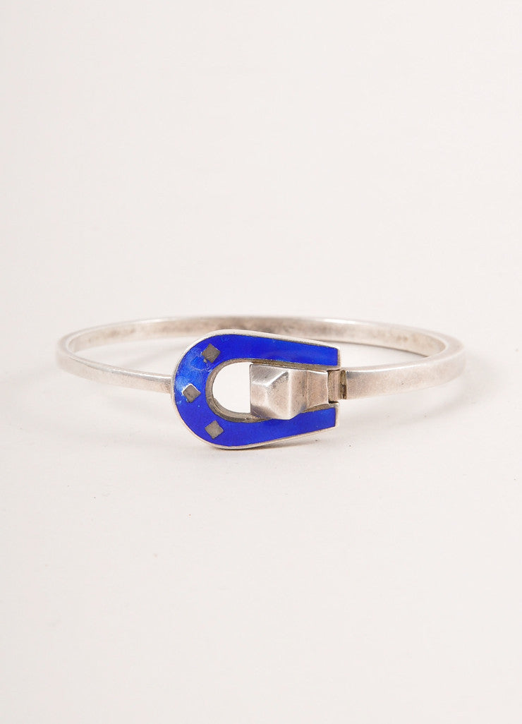 Gucci Sterling Silver and Royal Blue Buckle Design Bangle Bracelet Frontview