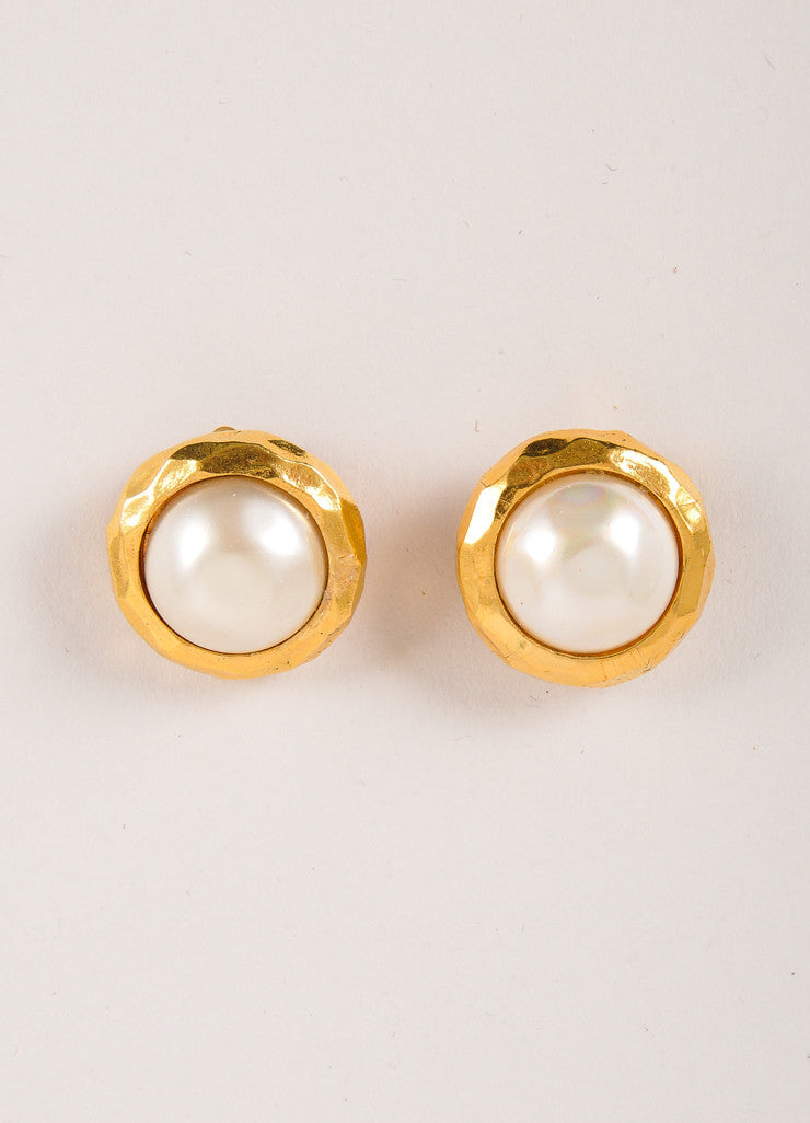Chanel Gold Toned and Cream Faux Pearl Round Earrings Frontview
