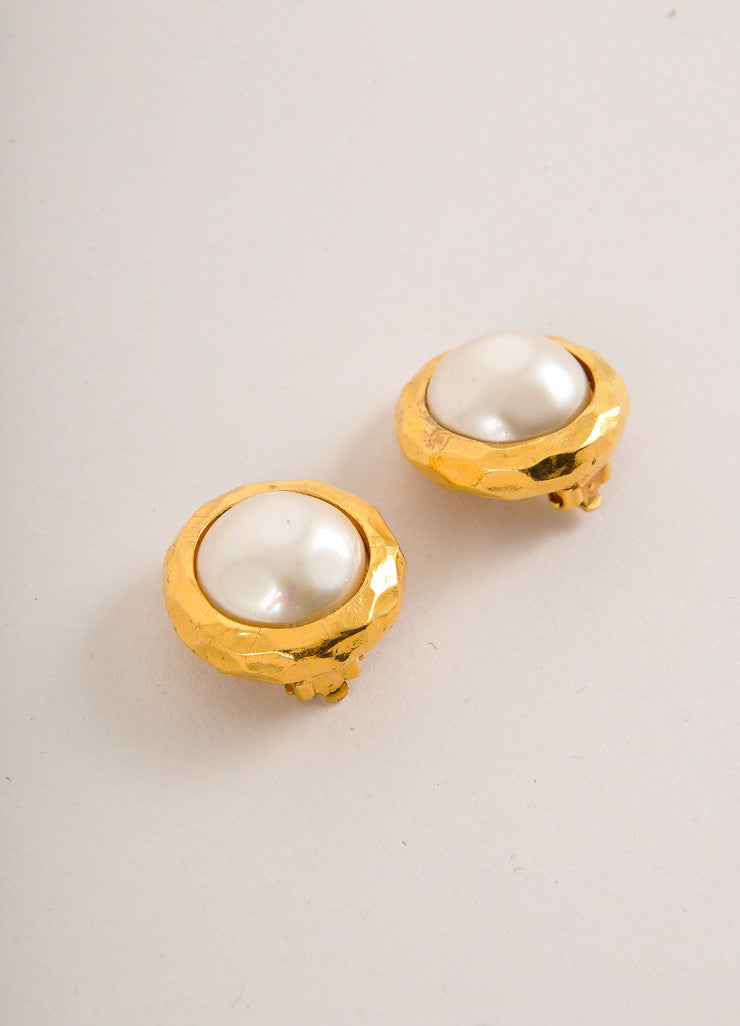 Chanel Gold Toned and Cream Faux Pearl Round Earrings Sideview