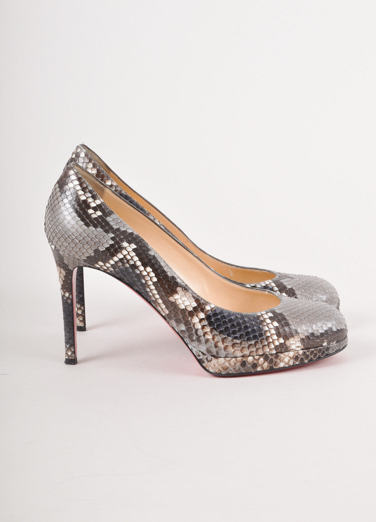 Grey, Brown, and Navy Snakeskin Pumps