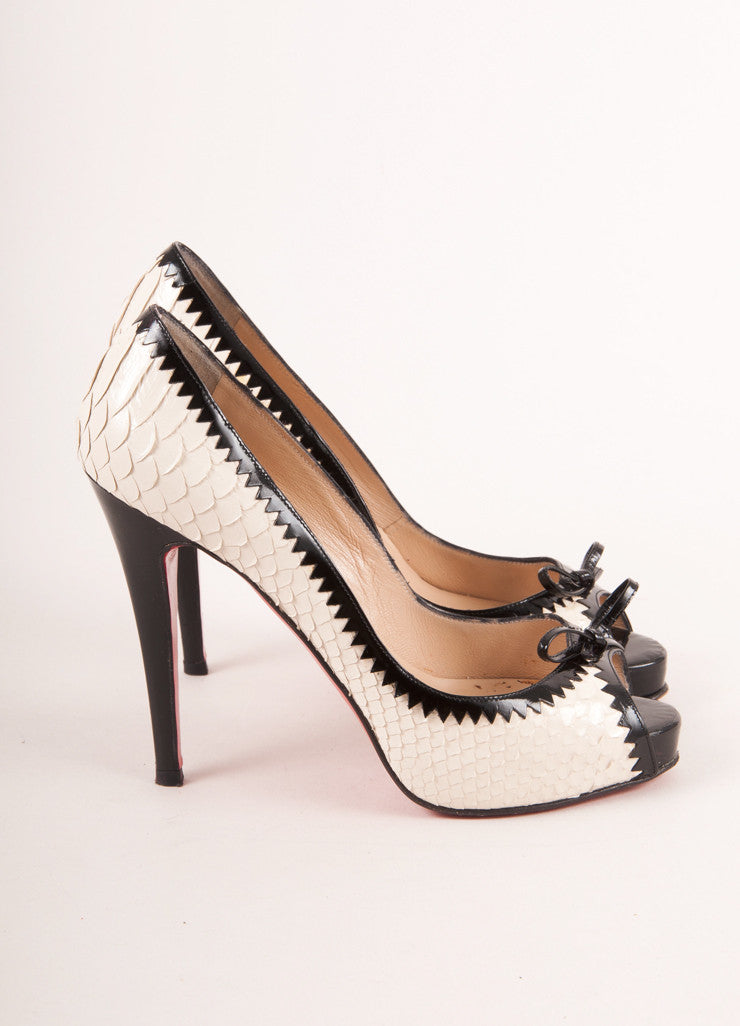 Cream and Black Python and Patent Leather Peep Toe Pumps