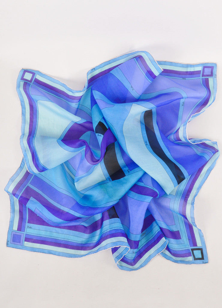 Multicolor Blue Semi Sheer Silk Organza Printed Scarf