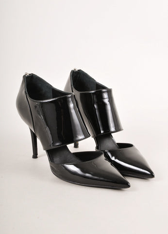 Black Patent Leather Cut Out Pointed Toe Ankle Booties