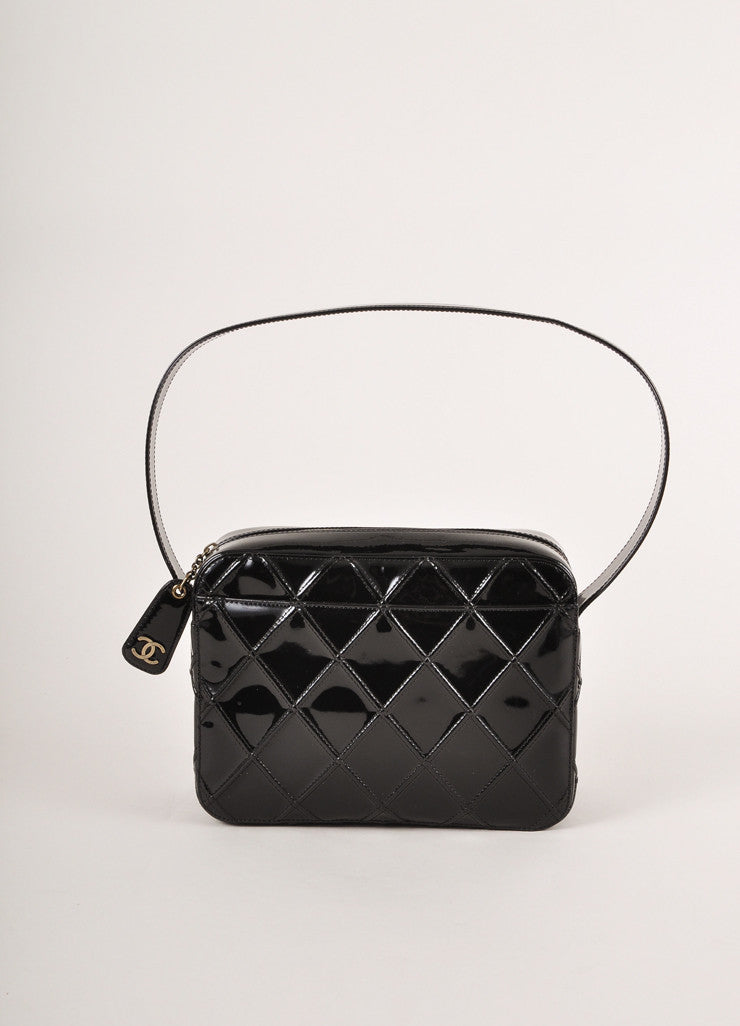 Chanel Black Patent Leather Diamond Quilted Zippered Shoulder Bag Frontview