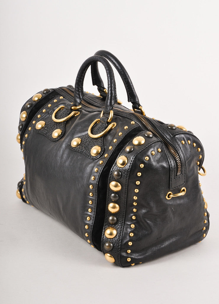 "Black Leather Studded Tassel ""Babouska"" Handbag With Hardware"