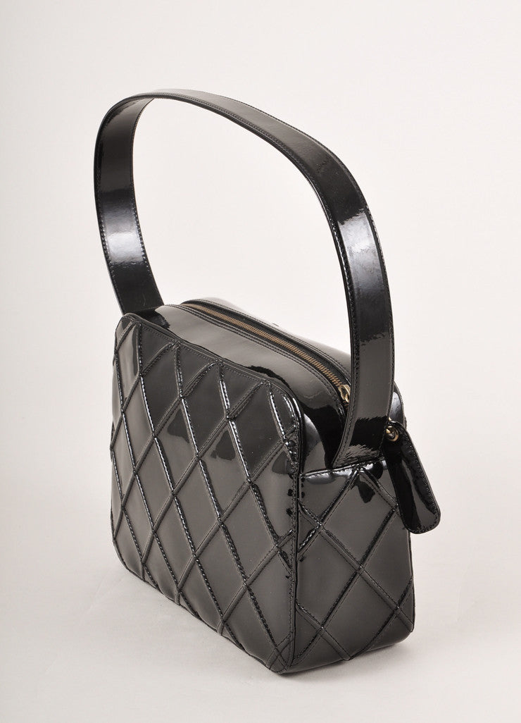 Chanel Black Patent Leather Diamond Quilted Zippered Shoulder Bag Sideview
