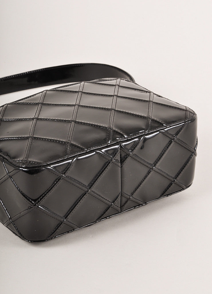 Chanel Black Patent Leather Diamond Quilted Zippered Shoulder Bag Bottom View