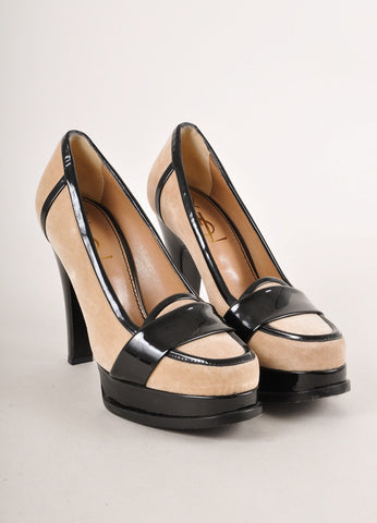 Beige and Black Velvet and Patent Leather Loafer Pumps
