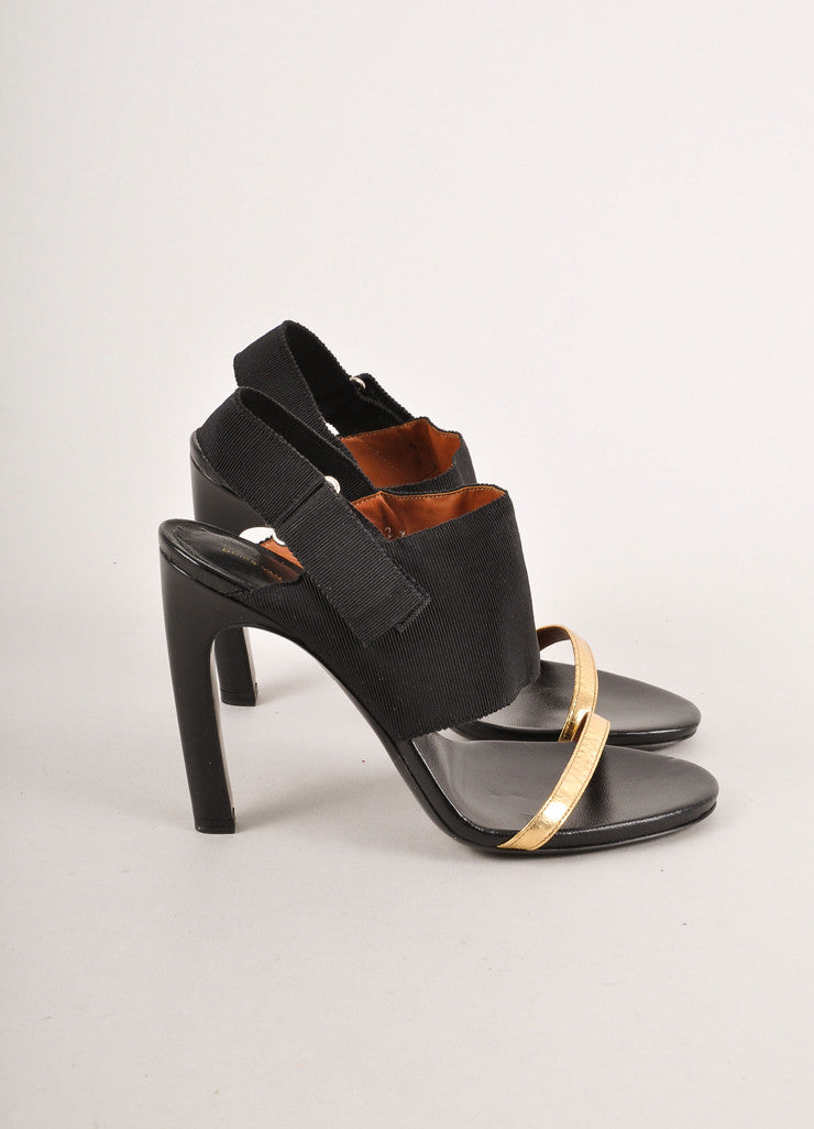 Black and Gold Metallic Leather and Ribbon Heeled Sandals
