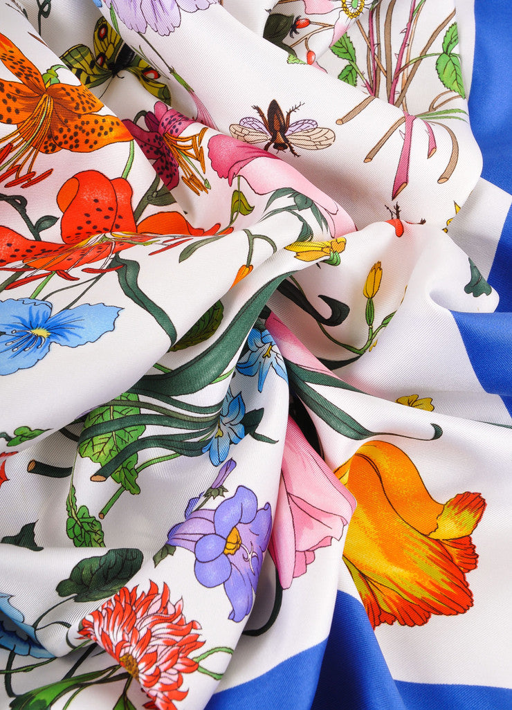 Blue, White, and Multicolor Vittorio Accornero Floral Print Silk Scarf