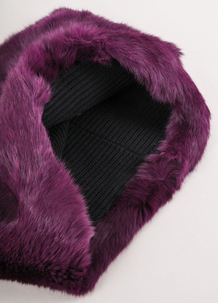 New With Tags Purple and Black Rabbit Fur Snood