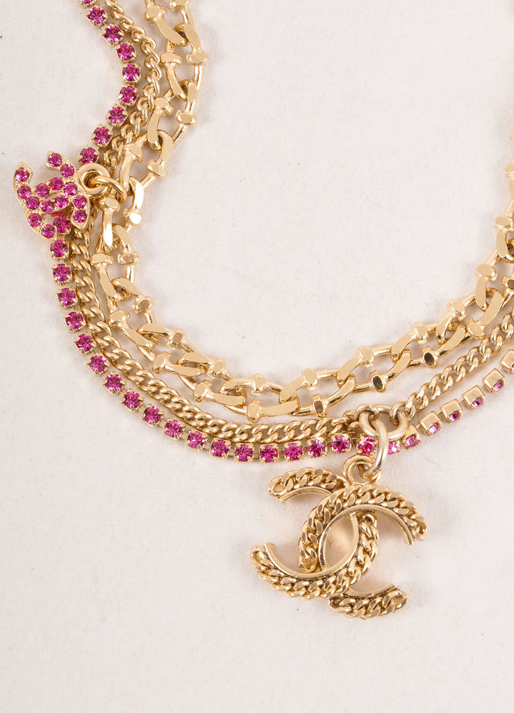 "Pink and Gold Triple Chain ""CC"" Charm Bracelet"