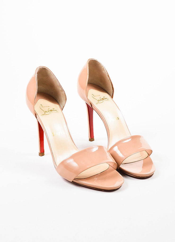 "Christian Louboutin Nude Taupe Patent D'Orsay ""Passmule"" Sandal Heels Frontview"