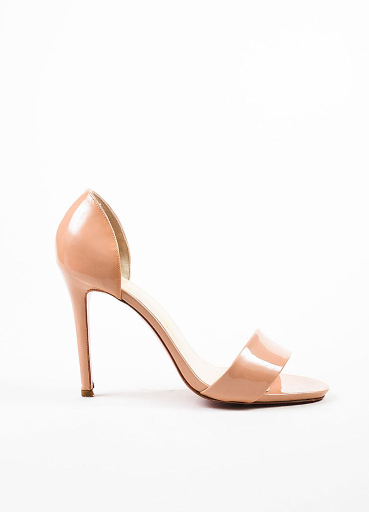 "Christian Louboutin Nude Taupe Patent D'Orsay ""Passmule"" Sandal Heels Sideview"