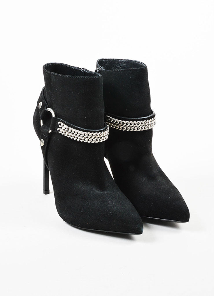Saint Laurent Black Suede Leather Chain Embellished Stiletto Ankle Booties Frontview