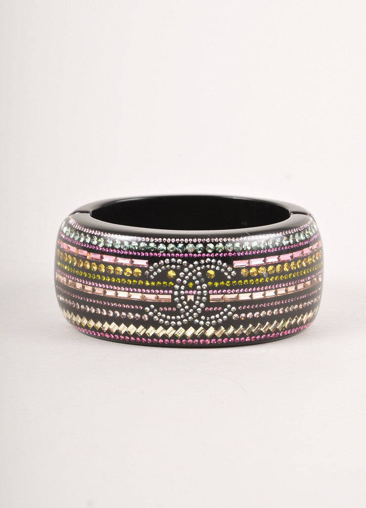 "Black and Multicolor Stone ""CC"" Hinged Bangle Bracelet"