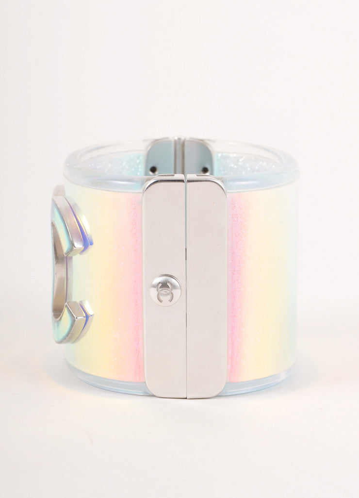 "Silver Toned and Glitter Iridescent Hologram ""CC"" Hinged Cuff Bracelet"