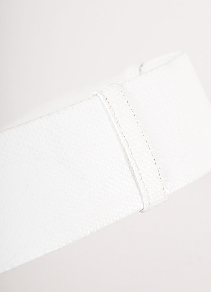 White Textured Leather Adjustable Belt