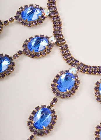 Purple and Blue Rhinestone Seven Pendant Handmade Necklace