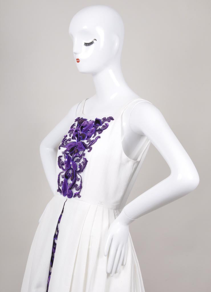 New With Tags White and Purple Detailed High Low Textured Gown