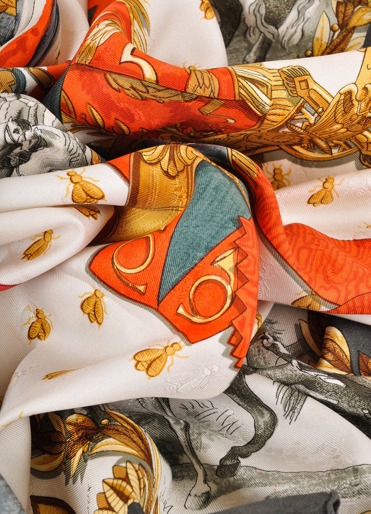 "Dark Green, Red, and Multicolor ""Napoleon"" Print Silk Scarf"